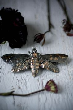 Moth brooch insect jewelry silver and gold moth от TheManerovs