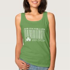 """""""Rub me for Luck"""" Text Fun Barcode Design St. Patrick's Day T-Shirts and Sweatshirts. Matching cards and other products available in the Holidays / St.Patrick's Day Category of the Mairin Studio store at zazzle.com"""