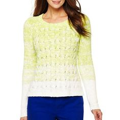 Liz Claiborne Ombre Cable Pullover - jcpenney