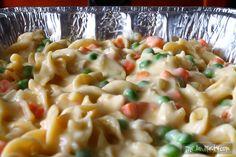 creamy chicken casserole--egg noodles, peas, carrots, cream of celery, cream of chicken, onion butter, salt, pepper