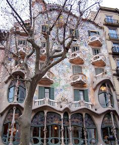 Barcelona architscture, Art Nouveau Casa Catllo building in Barcelona by the architect Antoni Gaudi.