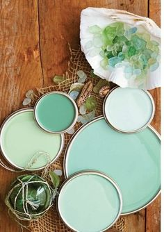 Paint colors of the greens in sea glass- baby room eventually