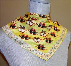 Vintage Adventure eBay listing for vintage Carol Stanley silk horse racing scarf or handkerchief ends May 11, 2016.