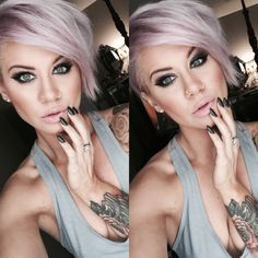 Make up look, Stiletto nails, pastel hair, pixie cut, smokey eyes, makeup how to