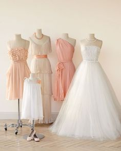 Like bridesmaid dress second from left next to wedding gown Romantic Wedding Colors, Perfect Wedding, Dream Wedding, Wedding White, Gold Wedding, Wedding Peach, Peach Weddings, Wedding Colours, Wedding Simple