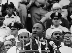 Martin Luther King Jr. giving his famous 'I Have a Dream' speech. This 17-minute speech called for an end to racism, and a beginning to equality. The speech was given on the steps of the Lincoln Memorial on Aug 28, 1963. It is remembered to this day as one of the most effective speeches ever.