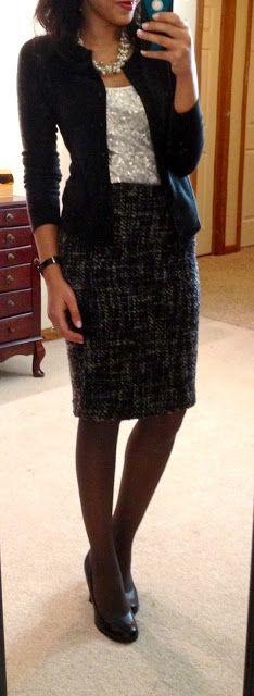 sequined tank + black cardi + pearls + gray tweed pencil skirt + black pumps