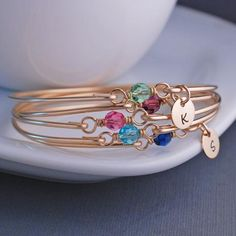 birthstone bangle charm bracelets in silver