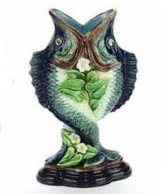 Hugo Lonitz Fish vase Glazes For Pottery, Ceramic Pottery, Pottery Making, Earthenware, Objects, Porcelain, Auction, Victorian, Fish