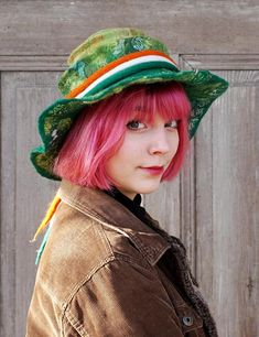 Perfect wide brimmed felt hat in Irish colors for St Patrick Day celebration!  Unique and elegant green felted hat in bohemian style with wide floppy brim. This stylish hat is made nuno felting technique with best quality merino wool and pieces of decorative silk fabric, silk and bamboo