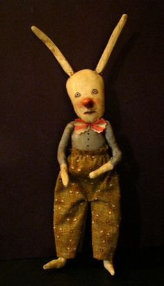 rabbit clown art doll, sandy mastroni , white rabbit, odd doll, bizarre ,hand stitches, spooky odd