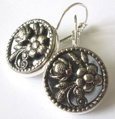 Silver mirror back buttons, 1800s antiques