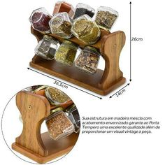 Porta Temperos Giratorio Small Wooden Projects, Wood Projects, Woodworking Projects, Spice Rack Plans, Wood Crafts, Diy And Crafts, Wooden Spice Rack, Serving Cart, Wooden Ornaments