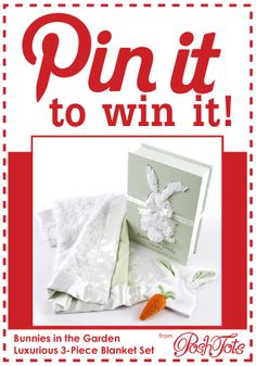 Congrats to Kellie Rose Wilson - you are the randomly selected winner of the Bunnies in the Garden Luxurious 3-piece Blanket Set! See the Pin for details.