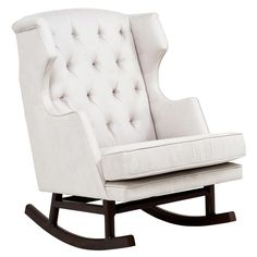 Rocking wing back chair = LOVE. There has to be a way to DIY this... I am very good with power tools and plan to find out.
