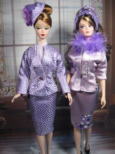 Silkstone Barbie's wearing Lavender silk suits.