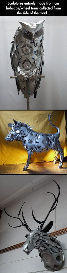 sculpture made from wheel trims and hubcaps