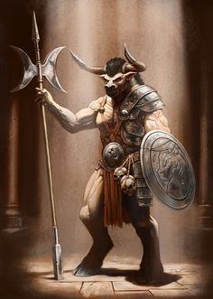 Cover full page - Minotaur - RPG Stock Art - This stock art image by Dean Spencer depicts a huge Minotaur standing guard in a labyrinth. Dungeons And Dragons, Fantasy Characters, Fantasy, Fantasy Races, Character Art, Anthropomorphic, Fantasy Warrior, Creature Art, Fantasy Creatures