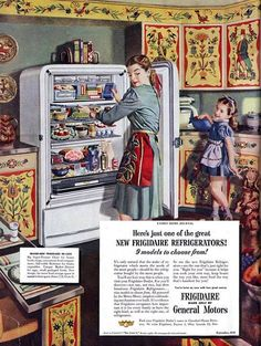 Frigidaire | Retro advertising | Vintage poster  What is the little girl doing? So natural!