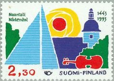 Townscape of Naantali (stylized) Postage Stamps, Finland, Tourism, Literature, Coding, Coupon, Europe, Artists, Country