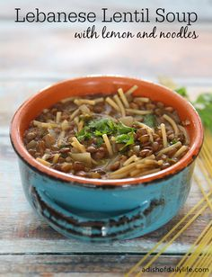 This delicious and healthy Lebanese lentil soup with lemon and noodles ...
