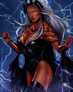 Storm from The Marvel Comic Universe and The X-Men. Marvel Women, Marvel Girls, Comics Girls, Comic Book Characters, Comic Book Heroes, Marvel Characters, Storm Xmen, Storm Marvel, Marvel Comics Art