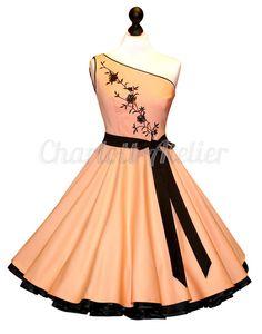Evening Petticoat dress 50s / black vintage dance - charlott-atelier - Prom Dresses