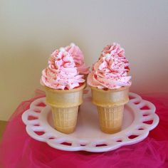Strawberry Ice Cream Cone Cupcake with Strawberry Cream Cheese Frosting