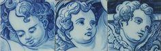 comércio e produção de azulejos manuais portugueses pintados á mão,vitrais… Portugal, Portuguese Tiles, Angel Art, Delft, Art Projects, Black And Grey, Woodworking, Cherubs, Colours