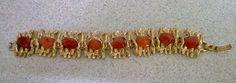 Gold Coloured Metal Bracelet with Amber Coloured Stones #Unbranded #Bracelet