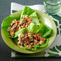 Peanutty Asian Lettuce Wraps Recipe -This recipe packs so much flavor into a beautiful, healthy presentation. I love to serve it as an hors d'oeuvre or as the main dish when I have folks over. It's always a hit! I usually serve it with a little extra hoisin on the side. —Mandy Rivers, Lexington, South Carolina