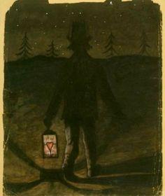 'Nightwalker' by Hugo Simberg, 1896 Night Walkers, Sun And Stars, Nocturne, Helsinki, Natural History, Art Museum, Lanterns, Illustration Art, Artsy