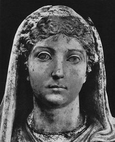 Statue of Livia from the Villa of Mysteries, Pompeii. Close up.  Marble. Late 1st century B.C. — early 1st century A.D.