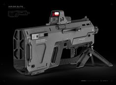 IAR-52 ELITE Infantry Assault Rifle - enhanced unibody design with integrated launcher/shotgun, feat. dual pica-tinny rails, tactical foregrip, bipod/tripod, mark 2 muzzle-break and 3rd party holographic - optical weapon systems.