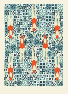 Signed Giclee print of a new digitally drawn version of Lou's Swimmers print, inspired by a love for lidos, travel posters and Art Deco patterns. By Lou Taylor Studio on Etsy UK. Motif Art Deco, Art Deco Print, Art Deco Design, Somerset, Motif Simple, Simple Art, Easy Art, Pattern Art, Print Patterns