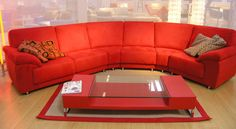 Living Room, Gorgeous Small Living Room With Curved Style Of Red Couch Theme: Delightful Interior of 10 Living Rooms Taking Red Scheme