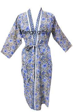 2da996bd73 Hand Block Print Floral 100%Cotton Kimono Bathrobe Long Dress Bikini  Cover-up