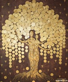 Tree Wall Art, Diy Wall Art, Tree Art, Wall Decor, Button Art, Button Crafts, Bicycle String Art, Coin Crafts, Coin Art