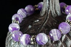 Amethyst Bracelet Silver accents Stretch by AliraTreasures on Etsy