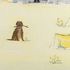 Yellow Boat and Dog Canvas Art by Hannah Cole Dog Beach, Beach Art, Seaside Pictures, Dog Illustration, Sketch Painting, Watercolor Animals, Pictures To Paint, Beautiful Paintings, Dog Art