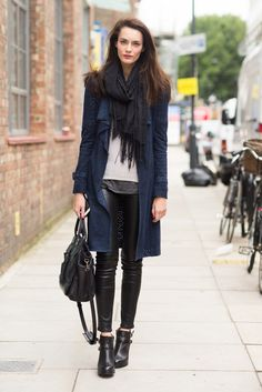 navy black outfit idea look leather fall