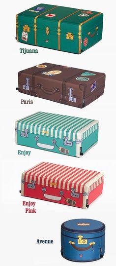 Pufs maletas retro - Tienda de regalos originales QueLoVendan.com