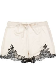 Carine Gilson's cream sheer silk-satin shorts with a delicate black lace trim are a beautiful boudoir style. #lingerie $500.00