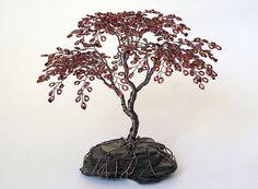 Japanese Maple Beaded Bonsai Wire Tree Sculpture