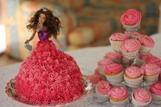 Barbie and cup cakes. Mums 70th birthday cake.