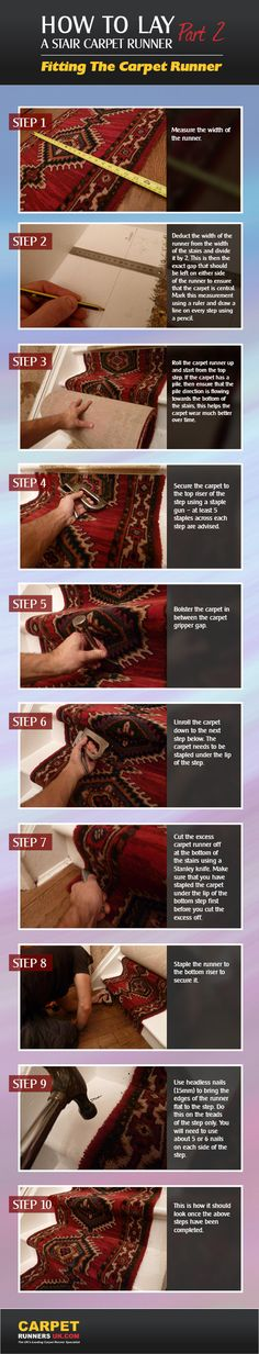 How to Lay a Stair Carpet Runner - Part 2 of the #Guide - Fitting the Carpet Runner  #Infographic  #DIY #carpet #stairs #homehacks #homedesign