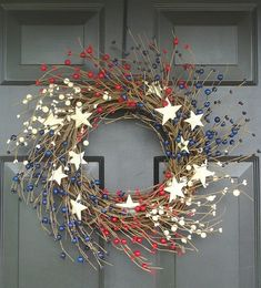 Patriotic Wreaths Etsy Memorial Day Fourth of July Independence Day