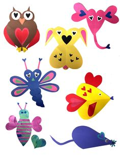 Valentine's Week Valentine's Week starts next week. Each of this week's crafts is designed to be a fun and different way to make handmade Valentine's cards for friends and family. Below are some of the highlights! Heart Collage Animals We love these! Check out the below examples of heart animals. Kids can simply cut a bunch of different color hearts and see what type of animals they can make. Kids can use construction paper, find fun patterned paper or, our favorite, recycled artw