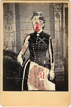 Available for sale from Muriel Guépin Gallery, Emerson Cooper, Woman with X Mixed media on albumen print, 4 × 6 in After Life, Postmodernism, Emerson, Artsy, Gallery, Tim Walker, Woman, Photography, Beautiful Things