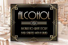 Gatsby Bar Decor Alcohol Sign, 8 x 11 x 16 x size, Gatsby Party, Art Deco Party Supplies - Black and Gold Cards, Sonic Birthday, Zombie Birthday, Free Birthday Invitations, Free Printable Invitations, Bridal Shower Photos, Bridal Shower Signs, Art Deco Party, Bubble Guppies Birthday, Alcohol Signs
